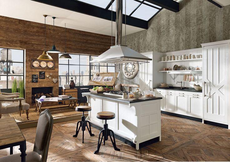 Cucina Kreola, cucina moderna in stile vintage realizzata in legno massello con piani in marmo, angolare o lineare.