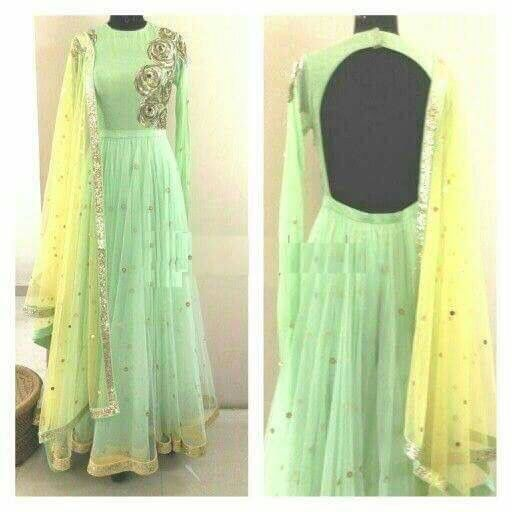 Lime yellow n green backless Anarkali