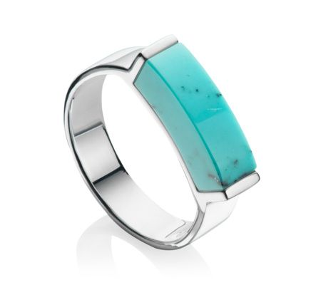 This contemporary ring features a vibrant 15.5mm x 4.1mm turquoise gemstone. Each stone is unique in both personality and pattern, and the open setting of the ring giving the illusion of a floating stone. Stack with other Linear Stone rings for a fresh and individual look. Please note that the colour and translucency of the turquoise differs from piece to piece due to natural variation, making your Monica Vinader jewellery entirely unique.