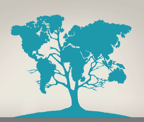 Large Tree World Map Decal for Home, Dorm, Office, Living Room or Bedroom. Available in lots of different colors, and they will re-size it for you.