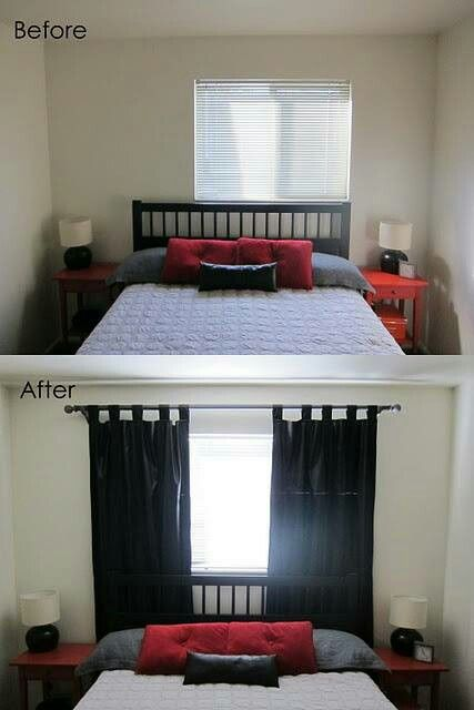 """Disguising off center window w/wider drapes. 