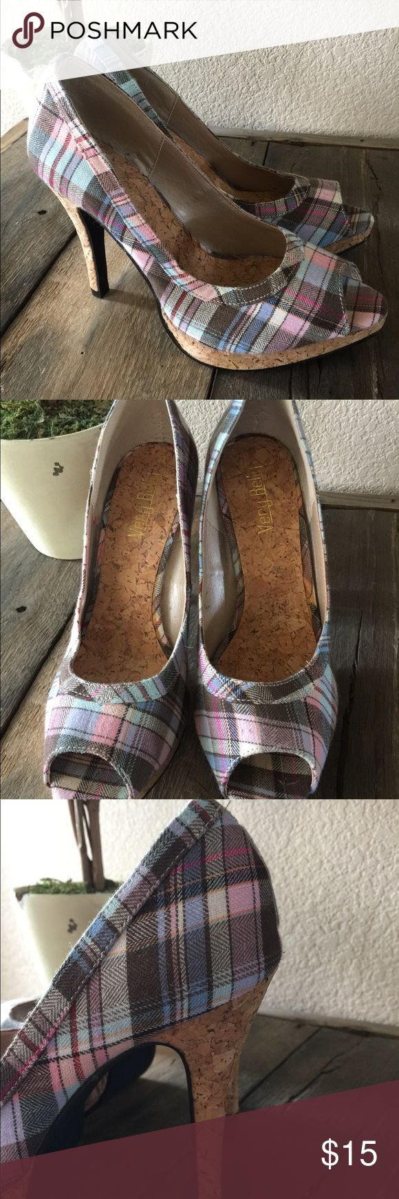 NBW Multi color high heels with cork heel. Gorgeous, just never wore! Brand new. Size L. (8) Peep toe. Cork heel and under toe. Multicolored. Smoke free home. No box. very belly Shoes Heels
