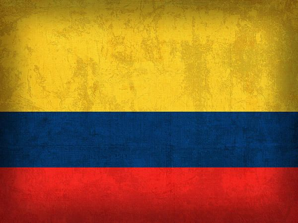 Colombia Flag Vintage Distressed Finish