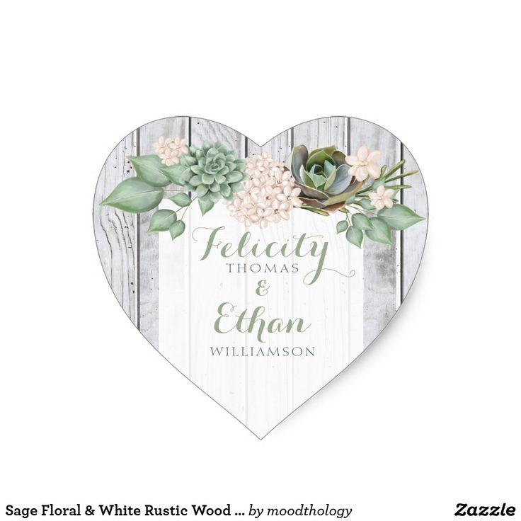 Sage Floral & White Rustic Wood Heart Wedding Seal