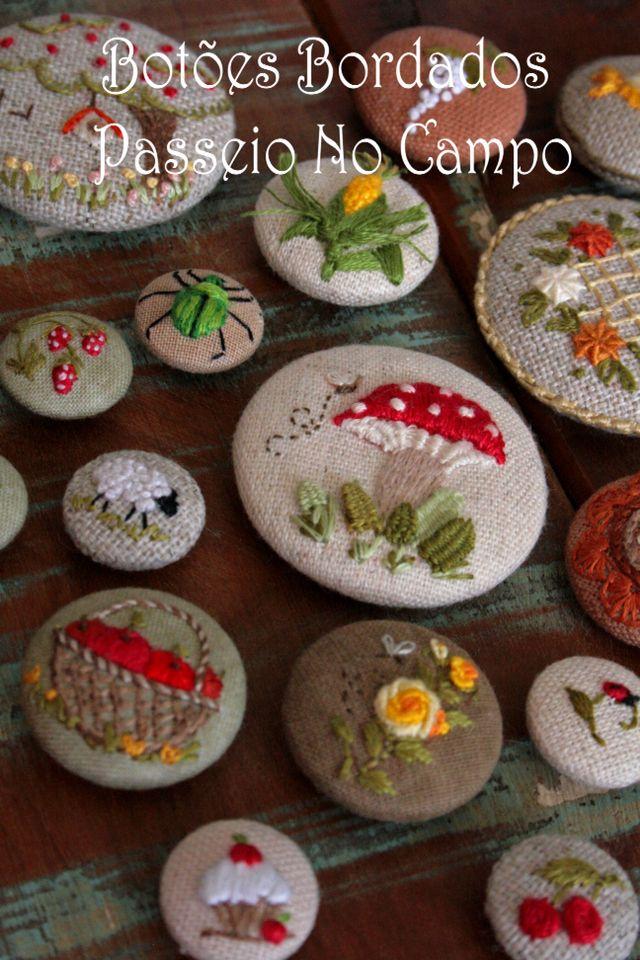 Botões Bordados - Passeio no Campo - Lilian Schnepper