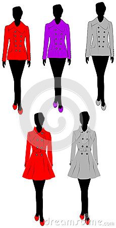 Vector illustration of female silhouette shadow in various colors coat.