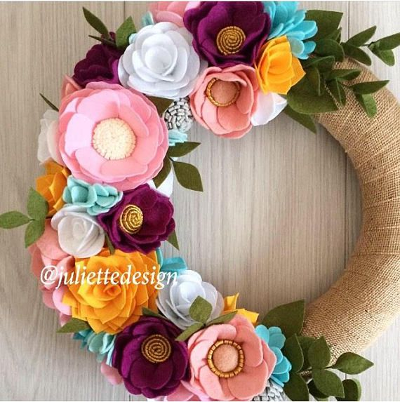 Flower Wreath Felt Wreath Year Round Wreath Easter Decor