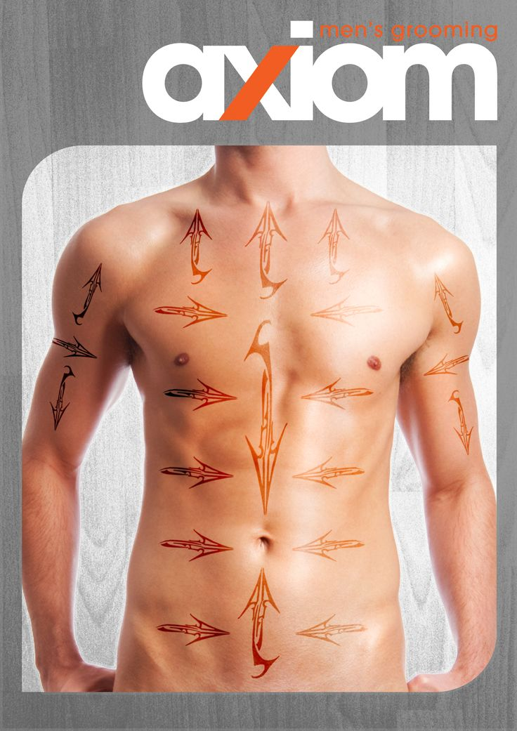 Men's waxing hair map to help learn male waxing - common directions of hair growth for the chest and abs