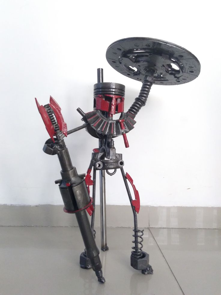 Custom made metal warrior made from car parts
