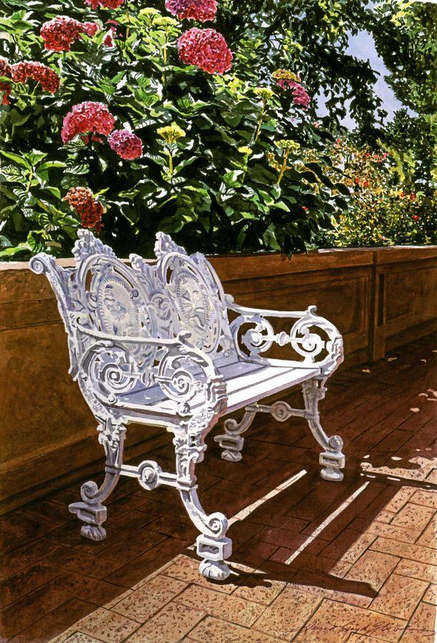 White Bench With Hydrangeas David Lloyd Glover