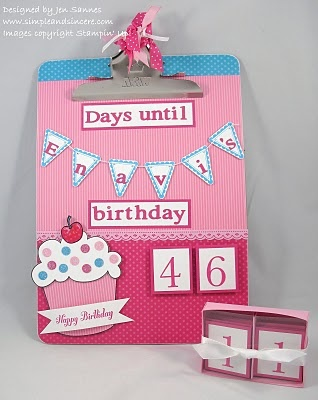 Birthday count down altered clipboard.  Could also be made into an advent calendar.