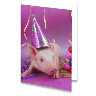 """Een verjaardagskaart voor een kind van een varkentje met een paars feesthoedje op Naast het varken liggen slingers en ballonnen. De achtergrondkleur is paars. De achtergrondkleur aan de linkerkant is paars en aan de rechterkant wit met daarop de tekst """"Feestvarken!"""" in paarse letters."""