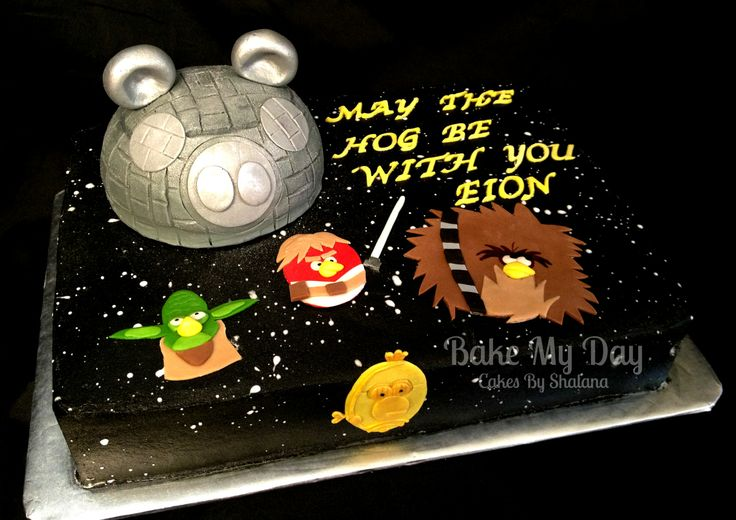 Angry Birds Star Wars - Cake is covered in buttercream and airbrushed and textured. Hand cut fondant accents.
