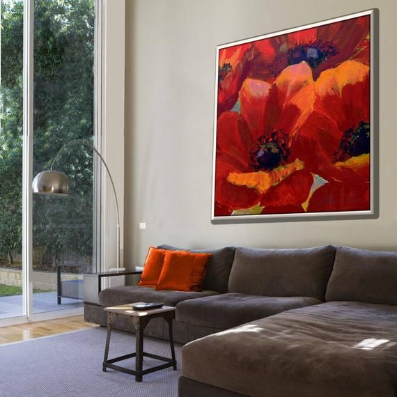 Living Room Painting Modern Painting Oil Painting Flowers Etsy