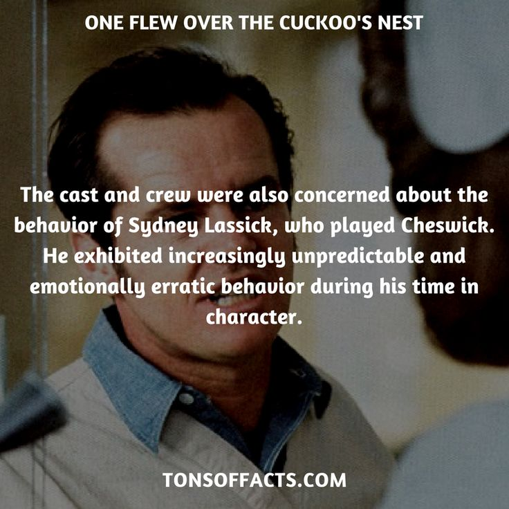The cast and crew were also concerned about the behavior of Sydney Lassick, who played Cheswick. He exhibited increasingly unpredictable and emotionally erratic behavior during his time in character. #oneflewoverthecuckoosnest #movies #interesting #facts #fact #trivia #awesome #amazing #1 #memes #moviefacts #movietrivia #oneflewoverthecuckoosnestfacts #oneflewoverthecuckoosnesttrivia