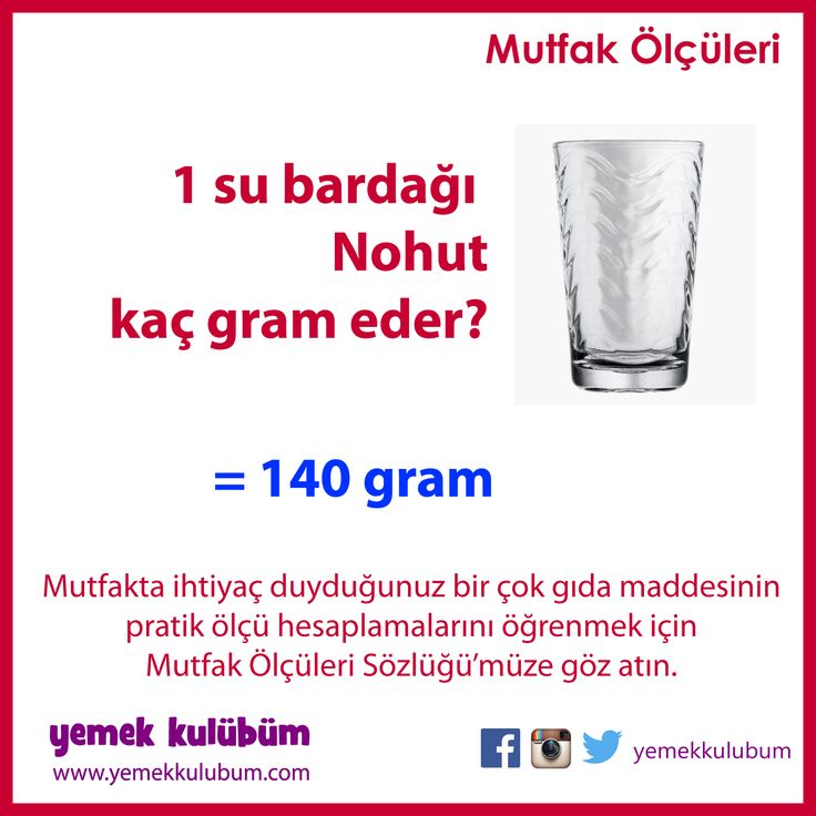 PRATİK MUTFAK ÖLÇÜLERİ : Bir su bardağı Nohut kaç gram eder? http://yemekkulubum.com/icerik_sayfa/bardak-olculeri