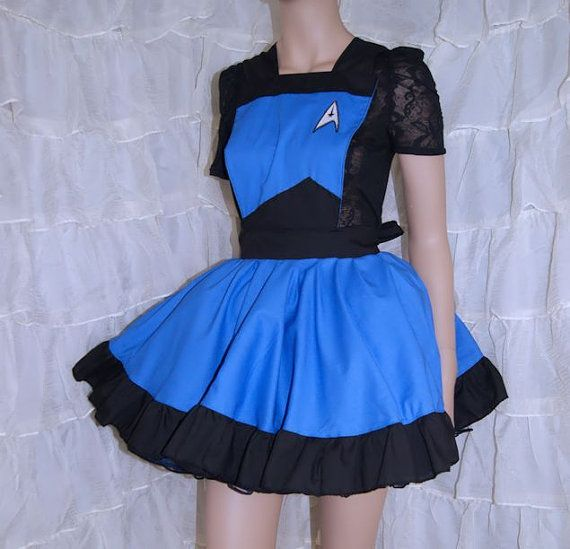 Blue StarFleet Insignia Pinafore Apron Costume Skirt Adult ALL Sizes - MTCoffinz - Ready to Ship ...