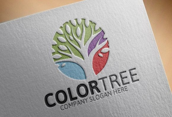 Color Tree Logo by Josuf Media on @creativemarket