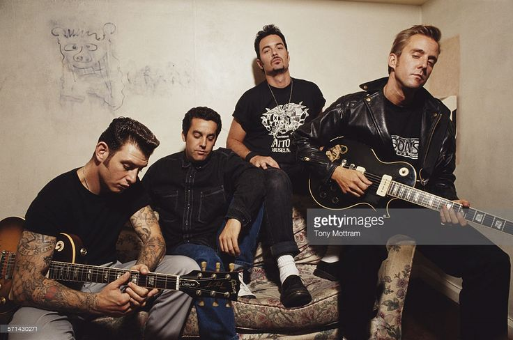 Portrait of American punk and rock group Social Distortion, mid 1990s. Pictured are, from left, Mike Ness, Chris Reece, John Maurer, and Dennis Danell (1961 - 2000).