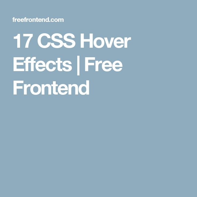 17 CSS Hover Effects | Free Frontend