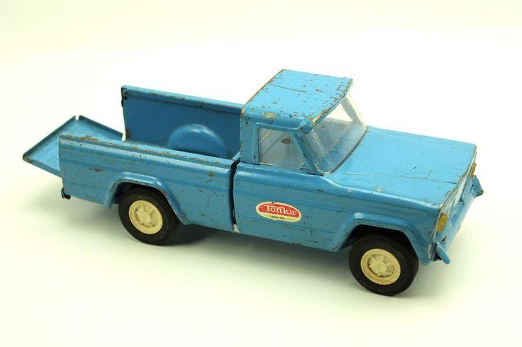 Vintage Tonka Pressed Steel Blue Jeep Pickup Truck #Tonka #Jeep #weboys10