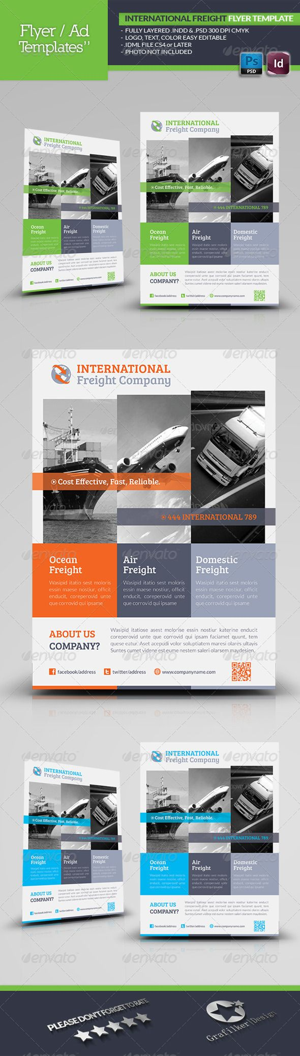 International Freight Flyer Template #GraphicRiver International Freight Flyer Template Fully layered INDD Fully layered PSD 300 Dpi, CMYK IDML format open Indesign CS4 or later Completely editable, print ready Text/Font or Color can be altered as needed All Image are in vector format, so can customise easily Photos are not included in the file Font File: Lato Font: .fontsquirrel /fonts/lato Bree-serif: .fontsquirrel /fonts/bree-serif Help.txt file Created: 5August13 GraphicsFilesIncluded…