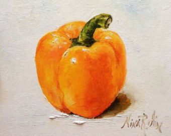 Bell Pepper Red Oil Painting Nina R.Aide by NinaRAideStudio