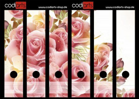 Set 6 Stück Ordner-Etiketten selbstklebend Ordnerrücken Sticker Rosa Rosen Gemälde