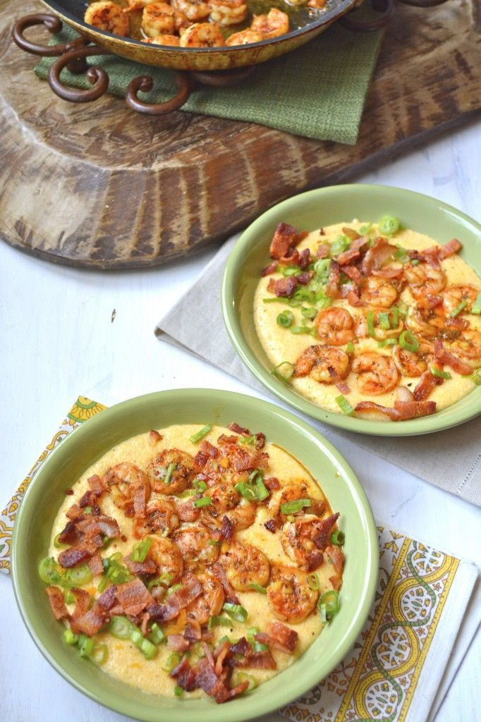 Seriously, the BEST Shrimp and Grits recipe ever! Cajun shrimp, bacon, green onions, and super cheesy grits! #glutenfree www.maebells.com