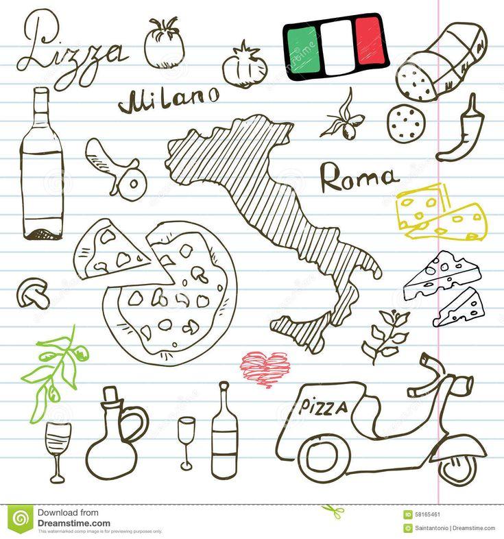 italia-garabatea-elementos-sistema-dibujado-mano-con-la-vespa-el-vino-el-queso-y-el-mapa-de-la-pizza-colección-de-dibujo-del-58165461.jpg (1300×1390)