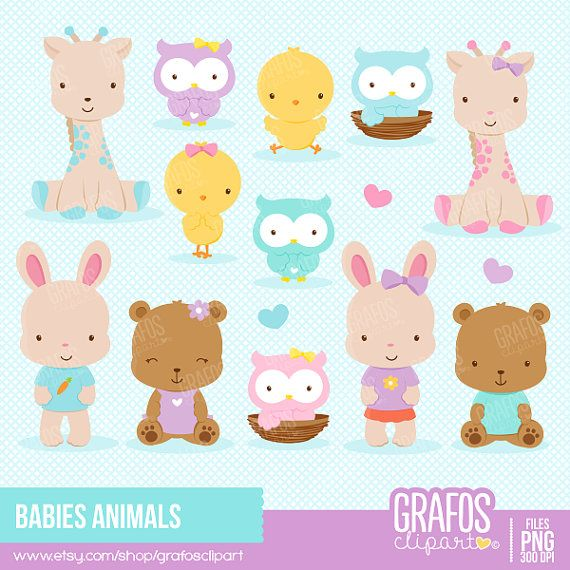 BABIES ANIMALS - Digital Clipart Set, Animals Clipart, Zoo Clipart.
