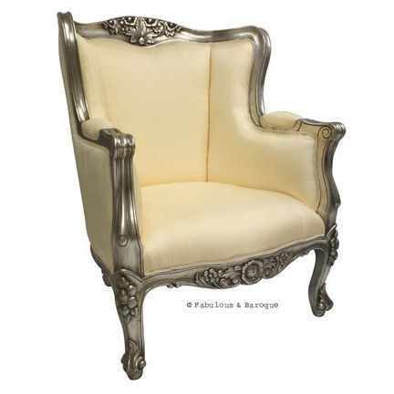 fauteuil-baroque: Antiques Silver, Libraries, Baroque, Chairs Silver, French Wings, Avelin French, Furniture Wings, Ivory, Products
