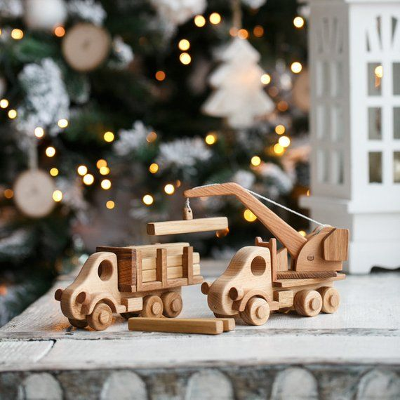 Set Of Wooden Cars For A Toddler Wooden Toys Education Toy For Montessori Car Carrier Crane Magnet Toy Wooden Truck Eco Friendly Wooden Toys Wooden Truck Wooden Toy Trucks