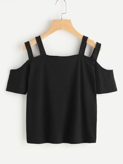 Camiseta con hombros abiertos de tirante doble-Spanish SheIn(Sheinside) Sitio Móvil
