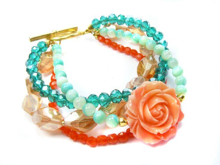 DIY Schmuck Vintage Armband mit Korallen-Rose und Schliffkristallen