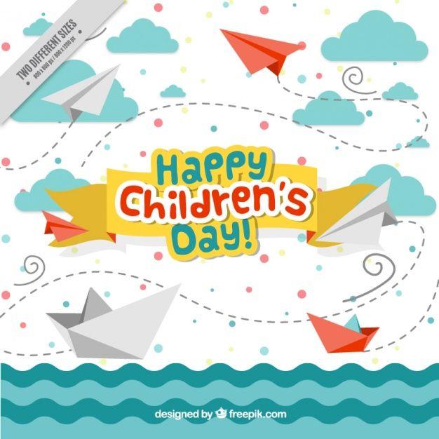 Descarga gratis vectores de Divertido fondo de mar con barcos y aviones de papel del día del niño