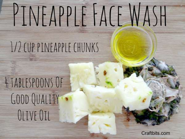Pineapple Face Wash Recipe - the olive oil replenishes the skin with vitamin E. Blend the pineapple into a fine pulp with the olive oil. Apply to the face and leave it on for 20 minutes. Rinse well with warm water.