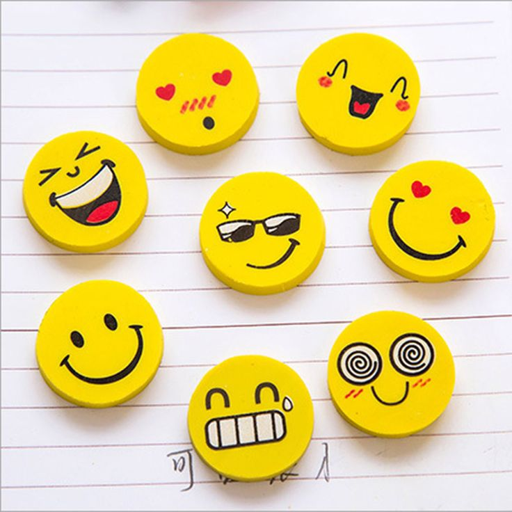 4 pcs/lot (1 bag ) Cute Kawaii Smiley Rubber Eraser for Kids Gift School Supplies Korean Stationery Wholesale Free shipping 662