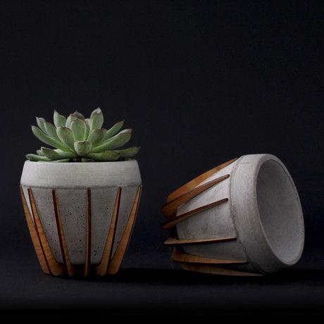 [shift furniture] La Morena | concrete plant pot combines with lasercut wood…