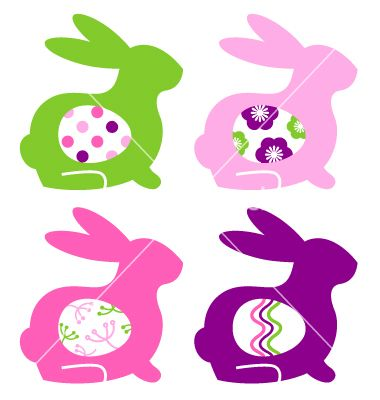 Abstract colorful bunnies with eggs set vector 1262166 - by lordalea on VectorStock®