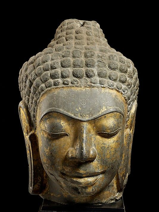 Head of Buddha, second half of the 7th century. Western Thailand. Lent by National Museum, Ratchaburi, Thailand (246/2533 [DV20]) | This head belonged to a monumental Buddha, either standing or enthroned, now lost. Its survival underscores the fragmentary nature of the archaeological record of Dvaravati art. Its sophisticated modeling and highly finished surface provide a glimpse of the standards of artistry that were attained. #LostKingdoms