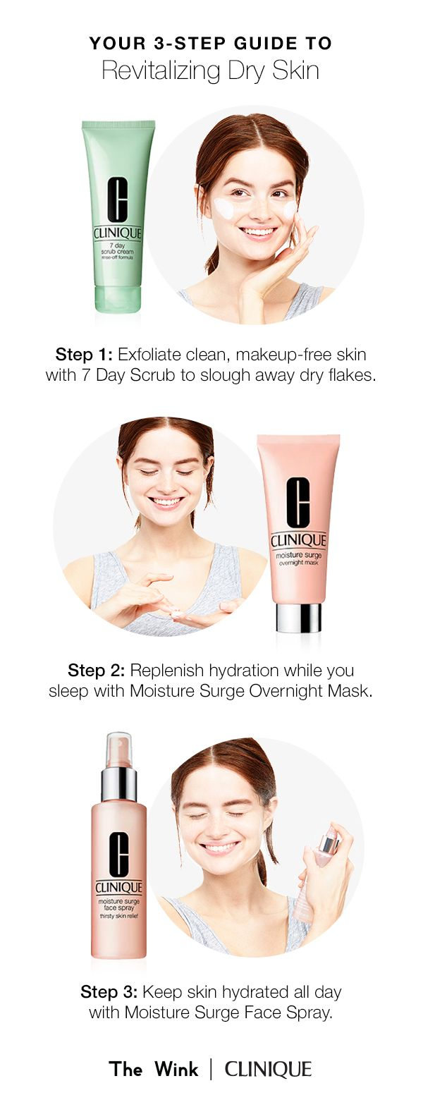 Revitalize dry skin in 3 simple steps. Step 1: Exfoliate clean skin with 7 Day Scrub. Step 2: Replenish hydration with Moisture Surge Overnight Mask. Step 3: Keep skin hydrated all day with Moisture Surge Face Spray.