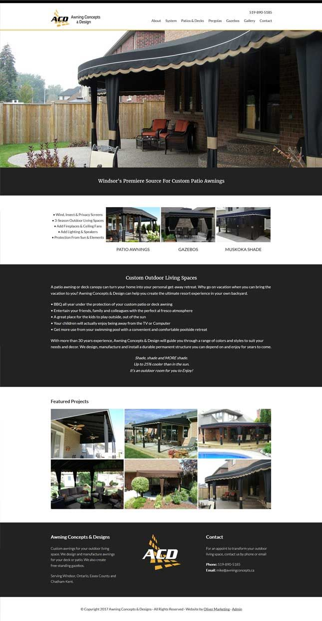 Awning Concepts and Design - custom patio awnings and outdoor living spaces.