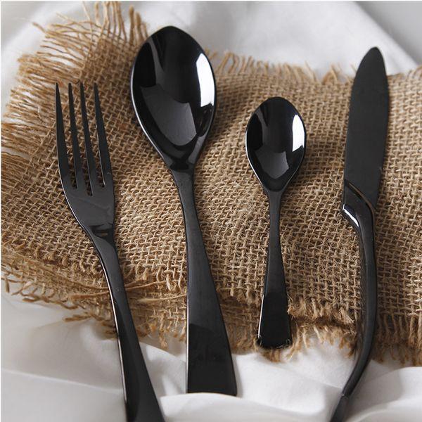 4pc Black Stainless Steel Cutlery Set