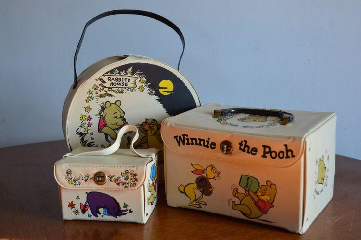 Vintage Winnie the Pooh 3 Piece Toy Luggage Doll Storage Set Collectible Walt Disney 1960s Vinyl Toy Storage Case Round and Square by Retrorrific on Etsy