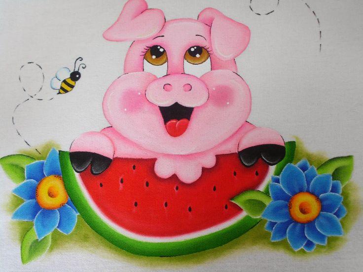 Porquinho rosado, pintura   Pintura em pano de prato/copa ...