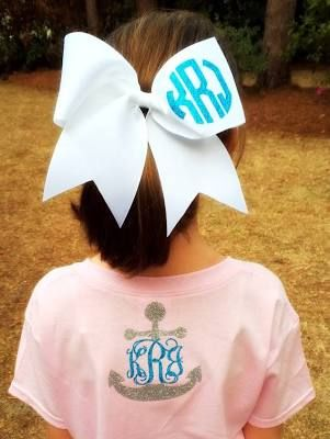 Glitter Monogram Cheer Bow ...