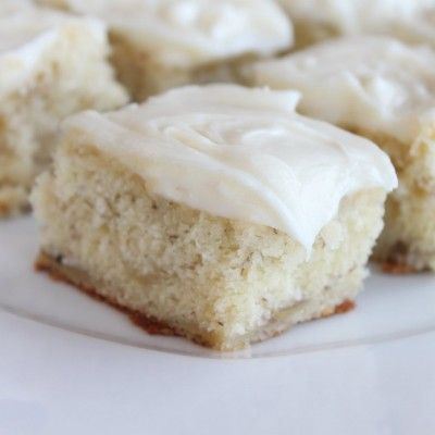 This is really a slice of heaven. I add almond extract to the icing instead of vanilla. To die for banana cake!