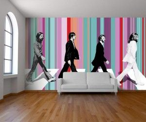 The Beatles come to life in this wallpaper design. So cool.