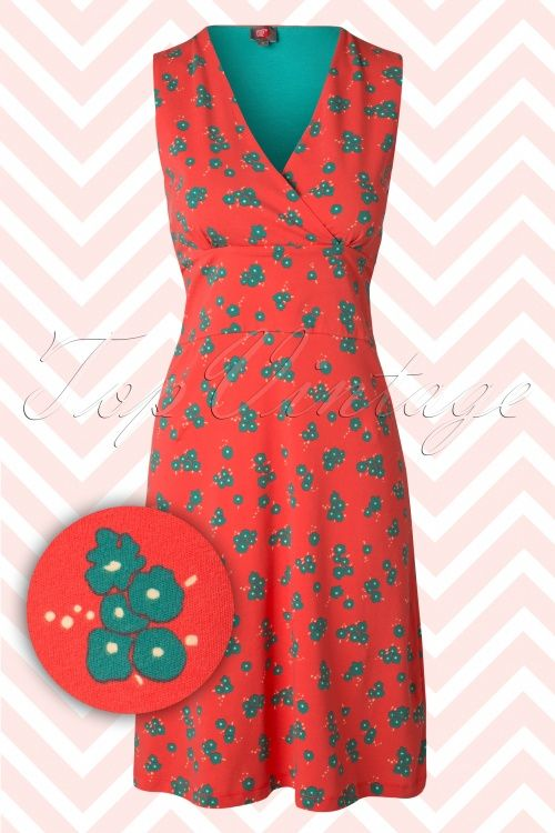 Wow To Go! - 60s Mex Floral Dress in Coral